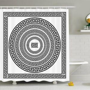 Shower Curtain Greek Key Border Print